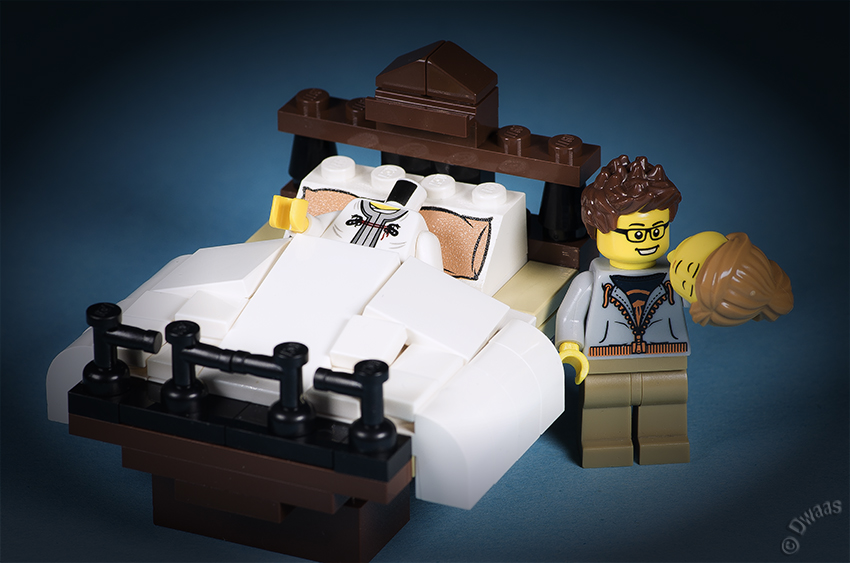 Lego sleep bed head idea
