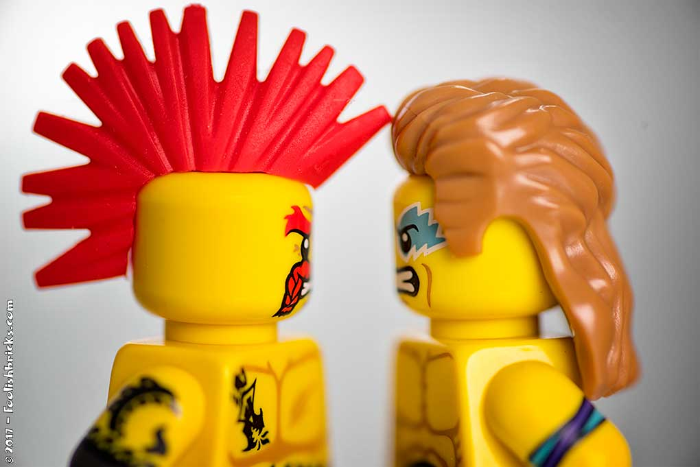 lego wrestling staring contest between two angry men