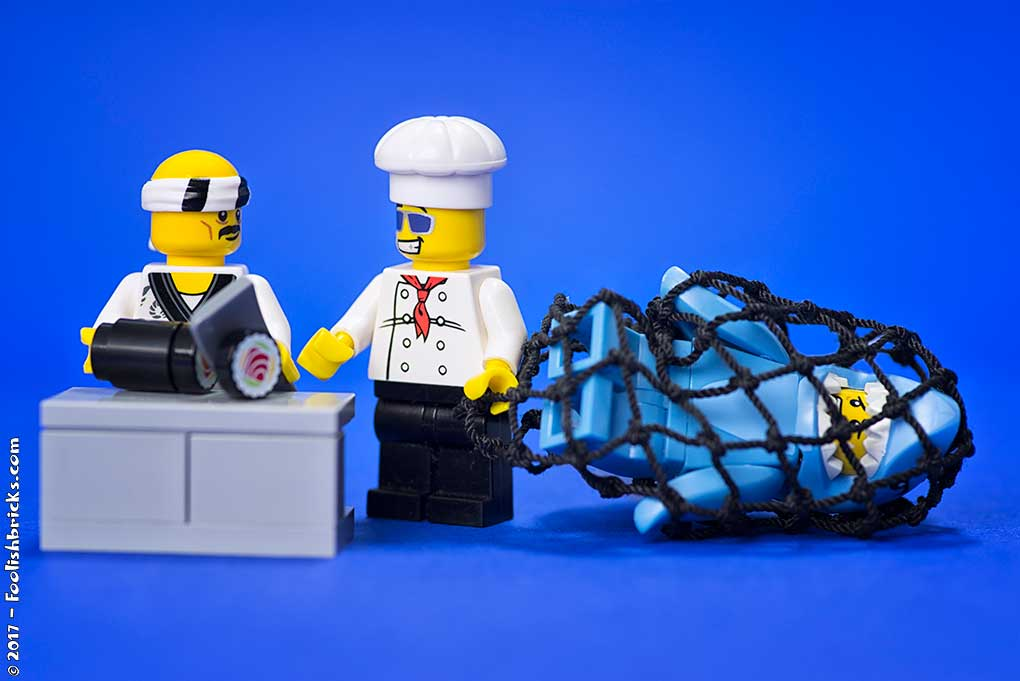 Lego cook brings shark suit guy to sushi chef