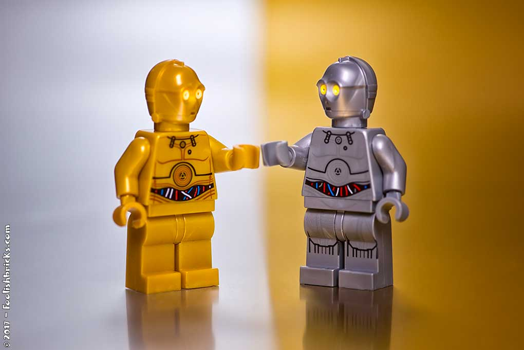 lego star wars gold c3po meets the silver one