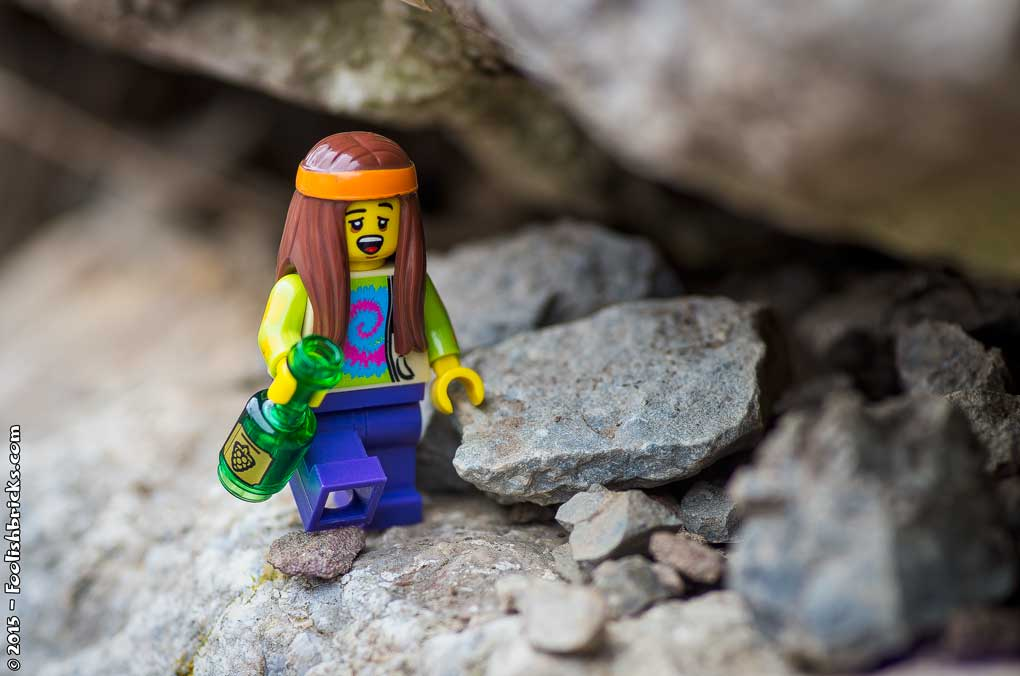 Lego photography - Francis walks on the edge of a cliff, whilst drunk