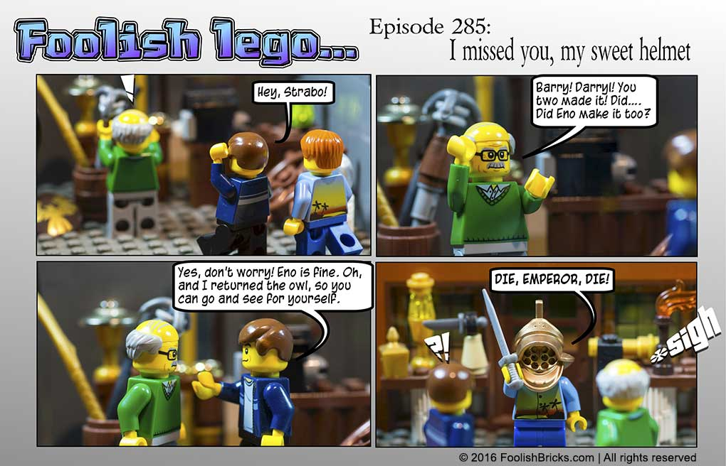 lego brick comic - Barry, Darryl and Strabo meet again. And Darryl is reunited with the helmet
