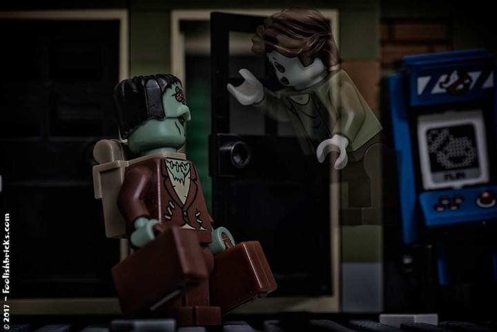 lego frankenstein caries suitcases and talks to a ghost