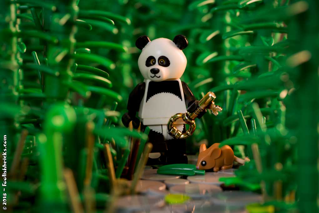 Lego photography - panda mouse key forest nature adventure