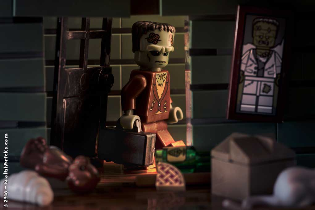 Lego photography - vacation suitcase frankenstein