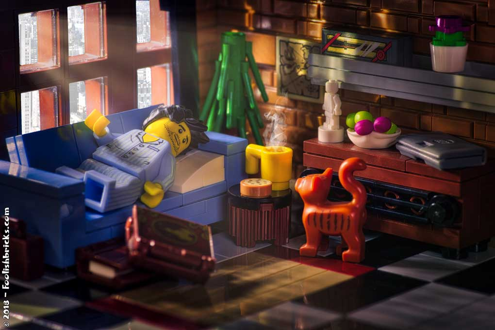 Lego photography - Lazy Sunday morning, coffee, books and a cat