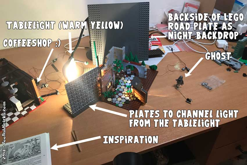 Basic setup Lego stage photography