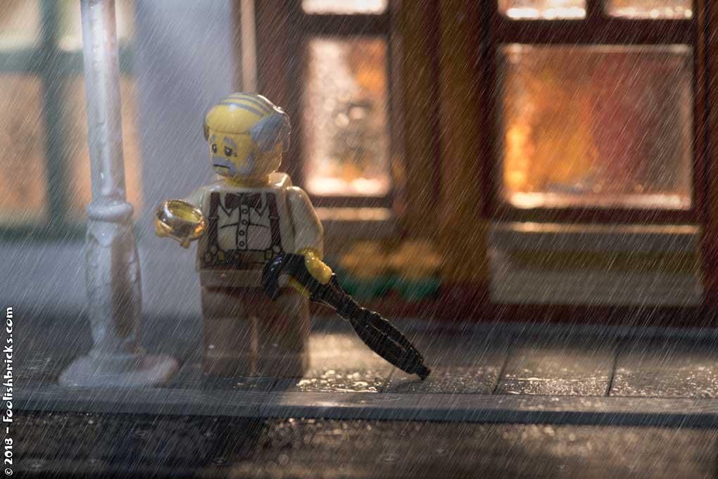 Lego photography - Lonely elderly rain