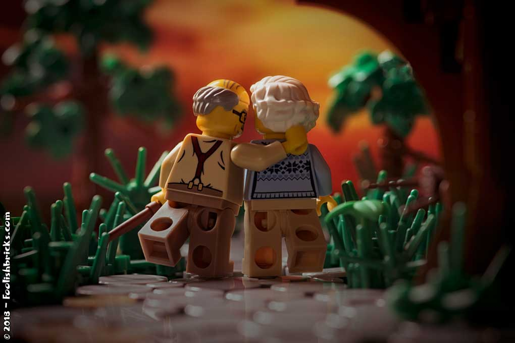 Lego photography - elderly couple happy sunset
