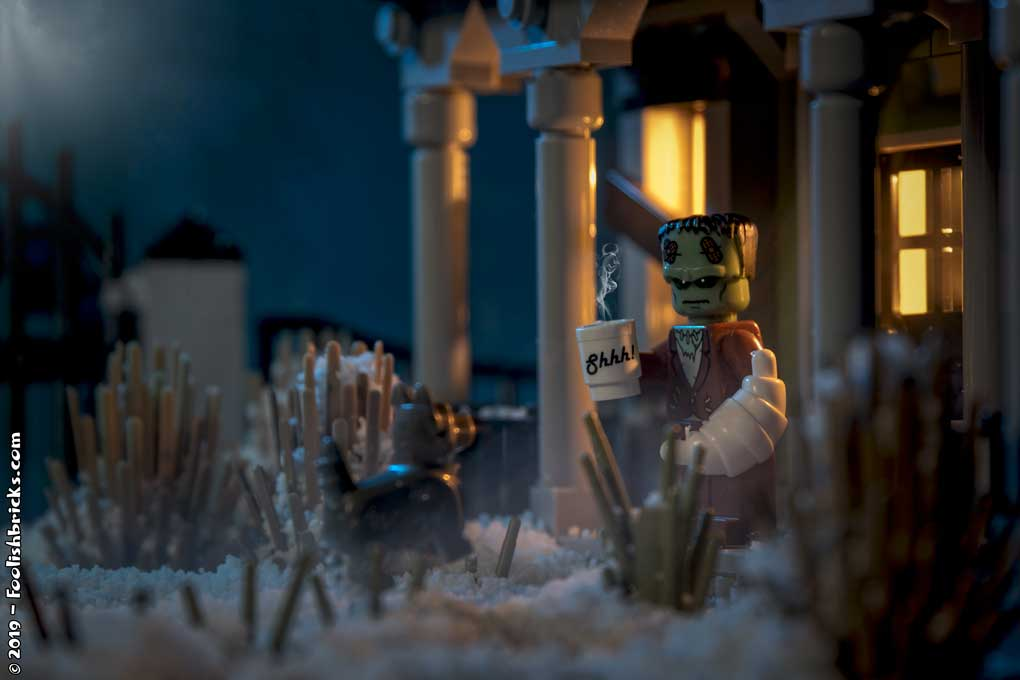 lego photography - frankenstein winter coffee