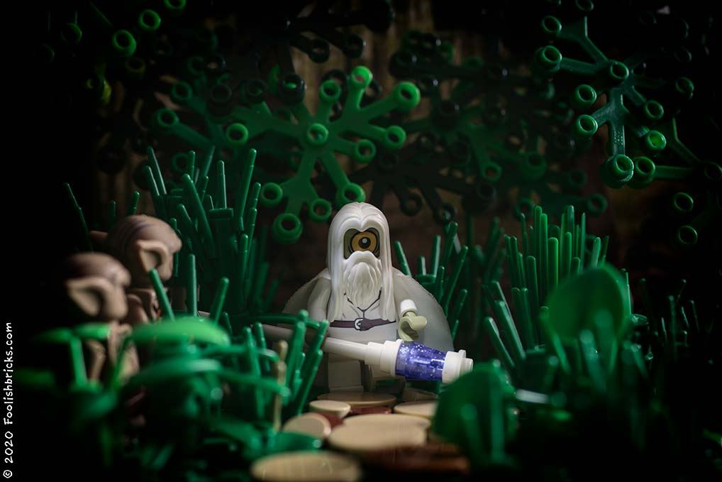 brick photography - Wizard in the woods watched by monsters