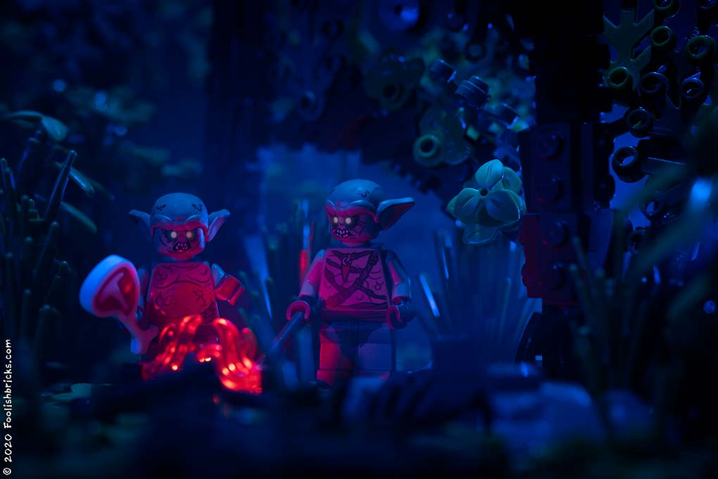 Lego Photography - monsters night forest fire
